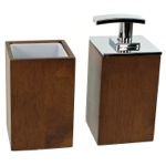 Wooden 2 Piece Brown Bathroom Accessory Set