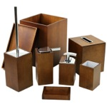 Wooden 8 Piece Brown Bathroom Accessory Set