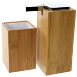 Wooden 2 Piece Bamboo Bathroom Accessory Set