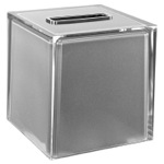 Thermoplastic Resin Square Tissue Box Cover in Silver Finish