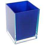 Free Standing Waste Basket With No Cover in Blue Finish