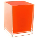 Free Standing Waste Basket With No Cover in Orange Finish