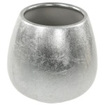Round Silver Toothbrush Holder in Pottery