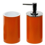 Stylish Orange 2 Piece Bathroom Accessory Set