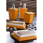 Kyoto Faux Leather Orange Bathroom Accessory Set