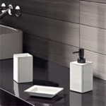 White Pottery Three Piece Bathroom Accessory Set
