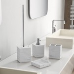 Quadrotto White Resin Bathroom Accessory Set