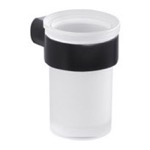 Toothbrush Holder, Gedy PI10-14, Wall Satin Glass Toothbrush Holder With Matte Black Mount