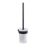 Toilet Brush, Gedy PI33-03-14, Wall Mounted Frosted Glass Toilet Brush With Matte Black Mount