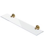 Wall Mounted Gold Brass and Glass Bathroom Shelf