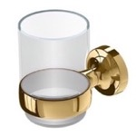 Toothbrush Holder, Geesa 7302-04, Wall Mounted Gold Brass and Glass Toothbrush Holder