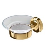 Soap Dish, Geesa 7303-04, Wall Mounted Gold Brass and Glass Soap Dish