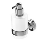 Wall Mounted Chrome Brass and Frosted Glass Soap Dispenser