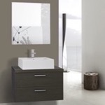 Bathroom Vanity, Iotti AN691, 30 Inch Grey Oak Vessel Sink Bathroom Vanity, Wall Mounted, Mirror Included