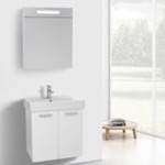 Bathroom Vanity, ACF C889, 24 Inch Glossy White Wall Mount Bathroom Vanity with Fitted Ceramic Sink, Lighted Medicine Cabinet Included