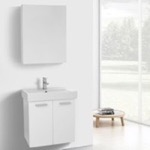 Bathroom Vanity, ACF C890, 24 Inch Glossy White Wall Mount Bathroom Vanity with Fitted Ceramic Sink, Medicine Cabinet Included