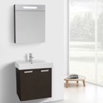 Bathroom Vanity, ACF C901, 24 Inch Wenge Wall Mount Bathroom Vanity with Fitted Ceramic Sink, Lighted Medicine Cabinet Included
