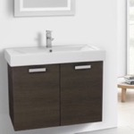 Bathroom Vanity, ACF C147, 32 Inch Grey Oak Wall Mount Bathroom Vanity with Fitted Ceramic Sink