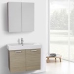 Bathroom Vanity, ACF C918, 32 Inch Larch Canapa Wall Mount Bathroom Vanity with Fitted Ceramic Sink, Medicine Cabinet Included