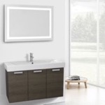 Bathroom Vanity, ACF C292, 39 Inch Grey Oak Wall Mount Bathroom Vanity with Fitted Ceramic Sink, Lighted Mirror Included