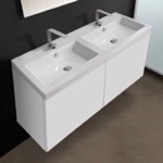 Bathroom Vanity, Iotti SE06C, 47 Inch Vanity Cabinet with Double Fitted Sink