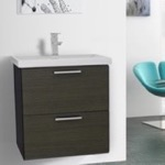 Bathroom Vanity, Iotti LN27, 23 Inch Grey Oak Wall Mounted Vanity with Fitted Sink