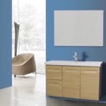 Bathroom Vanity, Iotti IN36, 38 Inch Wall Mounted Natural Oak Vanity with Inset Handles, Mirror Included