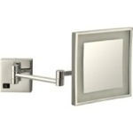 Makeup Mirror, Nameeks AR7701-SNI-5x, Satin Nickel Square Wall Mounted LED 5x Magnifying Mirror, Hardwired