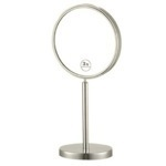 Makeup Mirror, Nameeks AR7716-SNI-3x, Satin Nickel Double Sided Free Standing 3x Makeup Mirror