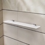 24 Inch Frosted Glass Shelf With Chrome Mounting