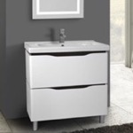 Bathroom Vanity, Nameeks VN-F02, 32 Inch Floor Standing White Vanity Cabinet With Fitted Sink