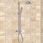 Chrome Shower System With Overhead Shower and Hand Shower