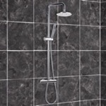 Chromed-Brass Shower Column With Overhead Shower, Sliding Rail, and Hand Shower