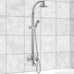 Wall-Mounted Bathtub Mixer With Sliding Rail and Diverter