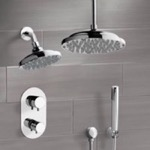Shower Faucet, Remer DCS02, Chrome Dual Shower Head System With Hand Shower
