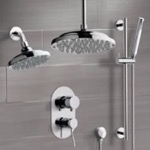 Shower Faucet, Remer DCS03, Chrome Dual Shower Head System With Hand Shower