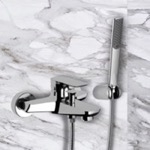 Wall-Mounted Bath Shower Mixer With Bracket And Hand Shower In Chrome