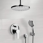 Shower Faucet, Remer SFH40, Chrome Shower System with Rain Ceiling Shower Head and Hand Shower