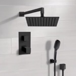 Shower Faucet, Remer SFH56, Matte Black Thermostatic Shower Set with Rain Shower Head and Hand Shower