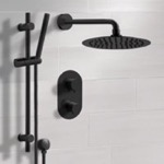 Shower Faucet, Remer SFR45, Matte Black Thermostatic Shower System with Rain Shower Head and Hand Shower