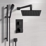 Shower Faucet, Remer SFR57, Matte Black Thermostatic Shower Set with Rain Shower Head and Hand Shower