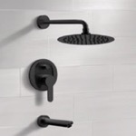 Tub and Shower Faucet, Remer TSF42, Matte Black Tub and Shower Faucet Set With Rain Shower Head