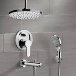 Tub and Shower Faucet, Remer TSH37, Chrome Tub and Shower Set with Rain Ceiling Shower Head and Hand Shower