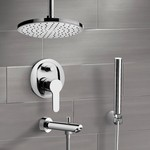 Tub and Shower Faucet, Remer TSH38, Chrome Tub and Shower Faucet Set with Rain Ceiling Shower Head and Hand Shower