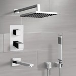 Tub and Shower Faucet, Remer TSH44, Chrome Thermostatic Tub and Shower Faucet Set with Rain Shower Head and Hand Shower