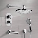 Tub and Shower Faucet, Remer TSH46, Chrome Tub and Shower Set with Rain Shower Head and Hand Shower