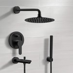 Tub and Shower Faucet, Remer TSH48, Matte Black Tub and Shower System With Rain Shower Head and Hand Shower