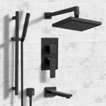Tub and Shower Faucet, Remer TSR31, Matte Black Tub and Shower System with 8
