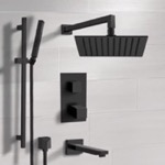Tub and Shower Faucet, Remer TSR34, Matte Black Thermostatic Tub and Shower Faucet with Rain Shower Head and Hand Shower