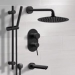 Tub and Shower Faucet, Remer TSR37, Matte Black Tub and Shower Faucet Set with Rain Shower Head and Hand Shower